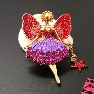Christmas Fairy BJ Red&Purple Crystal Brooch